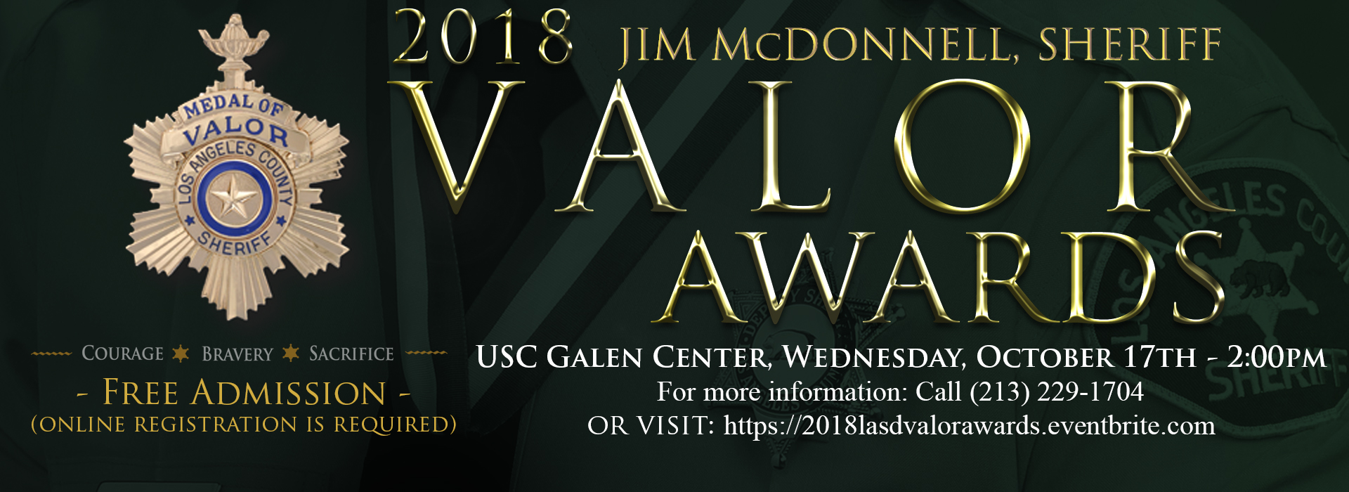 2018 Valor Awards - October 17th @ 2pm for more information call 213-229-1704